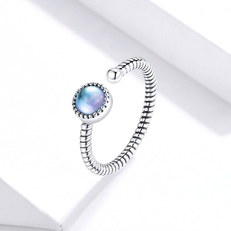 Women Fashion Jewelry 925 Colorful Moon Silver Rings