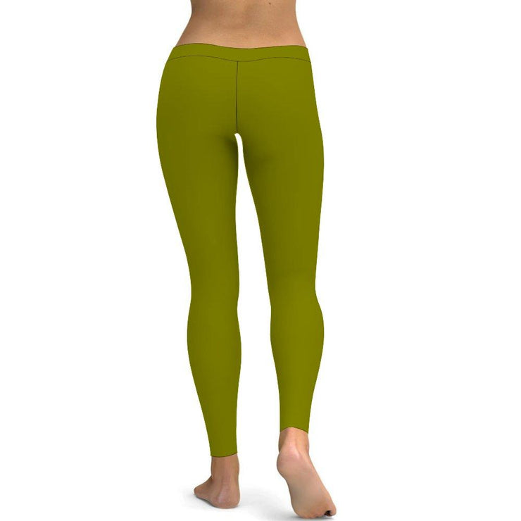 Solid Olive Green Yoga Leggings Tummy Control High Waist Stretchable Workout Pants