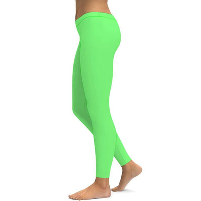 Solid Light Green Yoga Leggings Tummy Control High Waist Stretchable Workout Pants