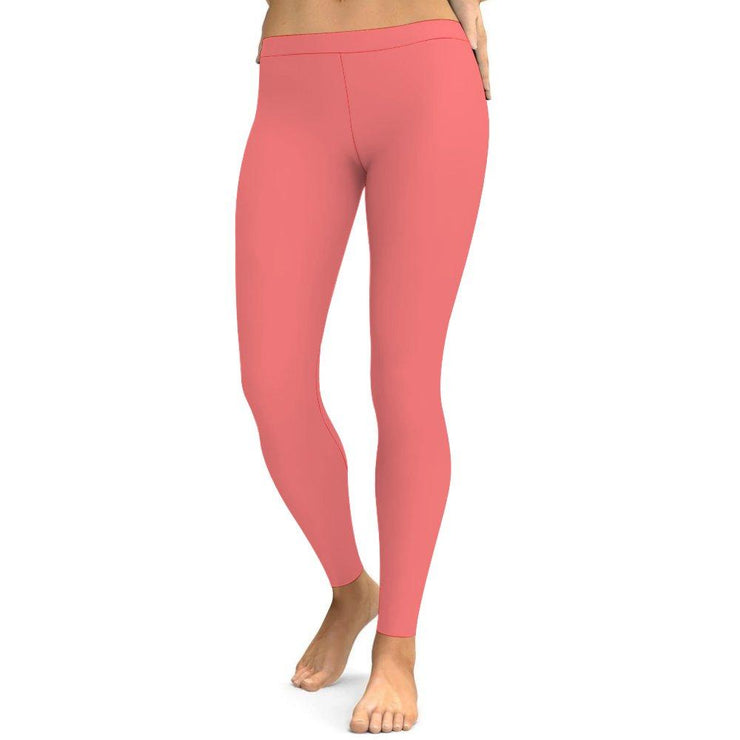 Solid Sweet Pink Yoga Leggings Tummy Control High Waist Stretchable Workout Pants
