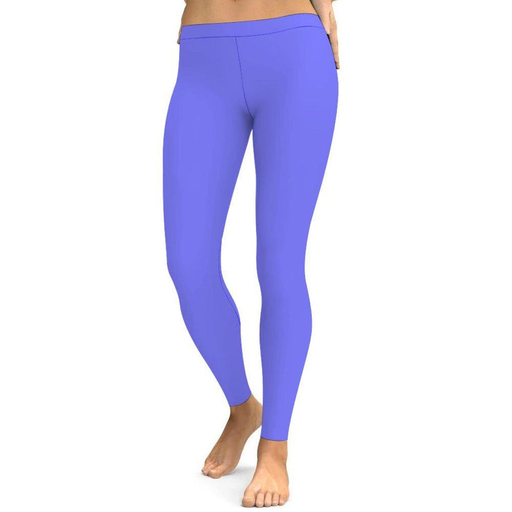 Solid Grace Blue Leggings Tummy Control High Waist Stretchable Workout Pants