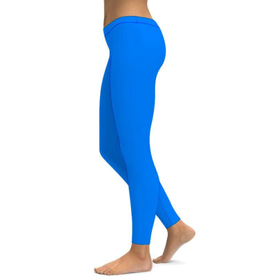 Solid Sky Blue Printed Yoga Leggings Tummy Control High Waist Stretchable Workout Pants