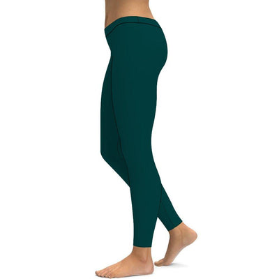 Solid Drak Green Leggings Tummy Control High Waist Stretchable Workout Pants