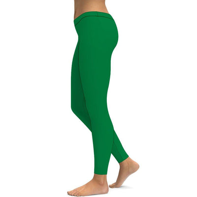 Solid Irish Green Yoga Leggings Tummy Control High Waist Stretchable Workout Pants