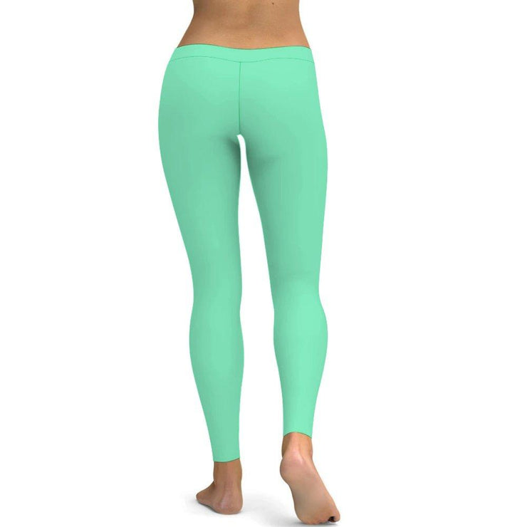 Solid Mint Green Yoga Leggings Tummy Control High Waist Stretchable Workout Pants