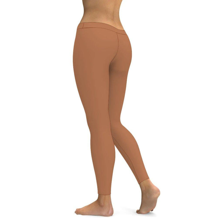 Solid Camel Yoga Leggings Tummy Control High Waist Stretchable Workout Pants