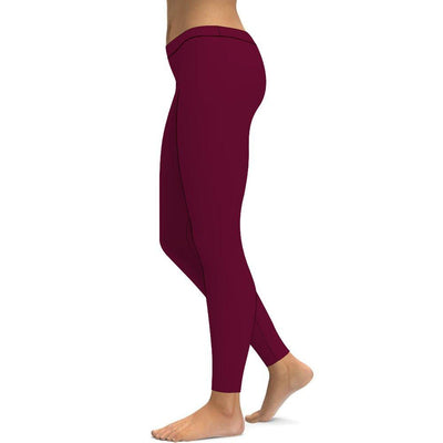 Solid Deep Red Leggings Tummy Control High Waist Stretchable Workout Pants