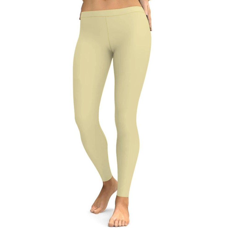 Solid Beige Yoga Leggings Tummy Control High Waist Stretchable Workout Pants