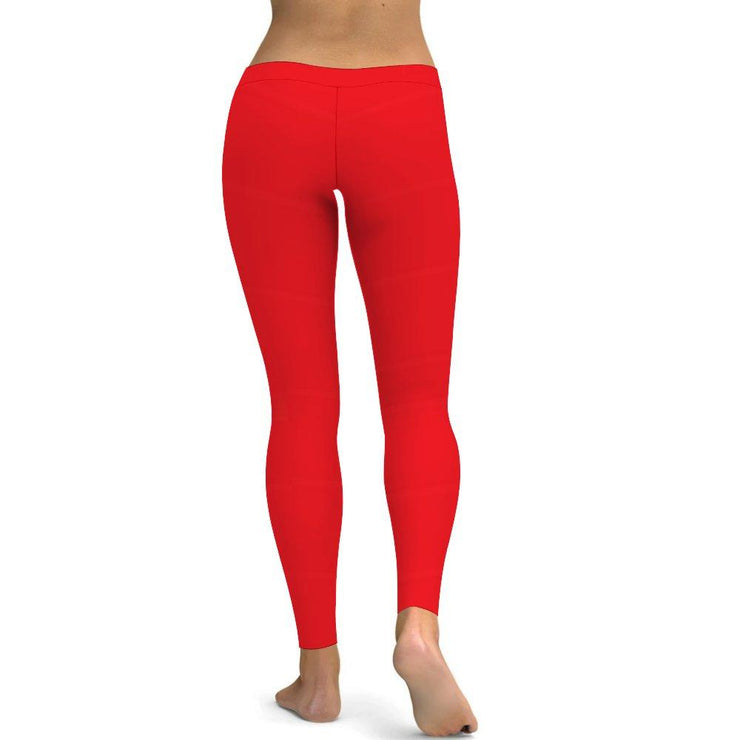 Solid Hot Red Yoga Leggings Tummy Control High Waist Stretchable Workout Pants