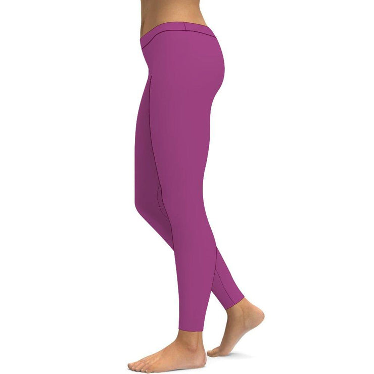 Solid Purple Yoga Leggings Tummy Control High Waist Stretchable Workout Pants