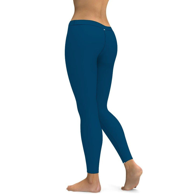 Solid Ocean Blue Yoga Leggings Tummy Control High Waist Stretchable Workout Pants