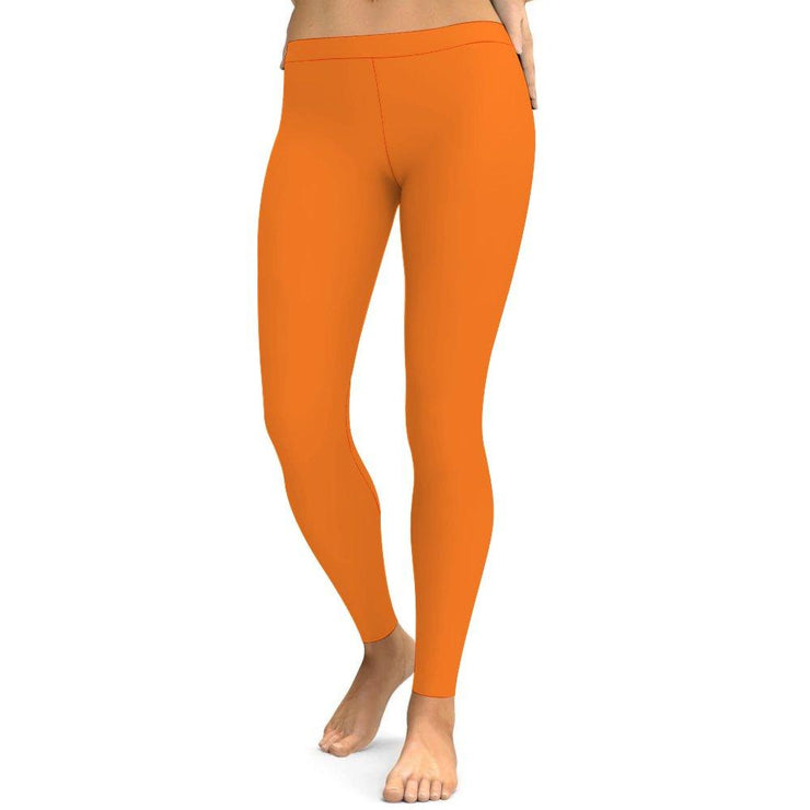Solid Orange Yoga Leggings Tummy Control High Waist Stretchable Workout Pants
