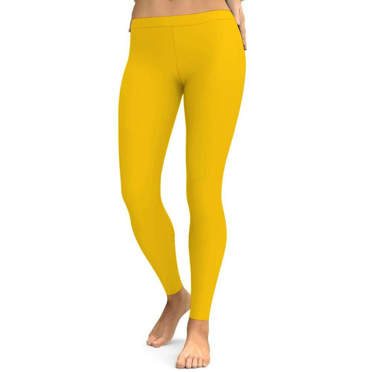Solid Yellow Yoga Leggings Tummy Control High Waist Stretchable Workout Pants