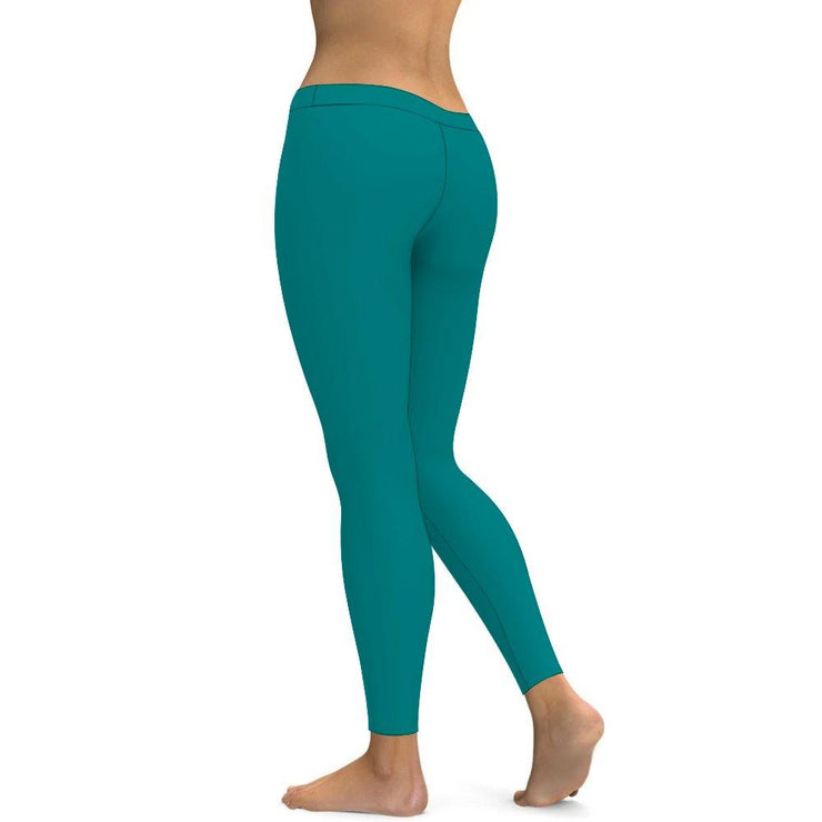 Solid Teal Yoga Leggings Tummy Control High Waist Stretchable Workout Pants