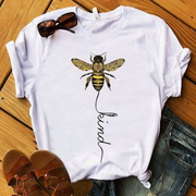 Women Short Sleeve Loose Letter Printed T-shirt - BEE KIND T-SHIRT