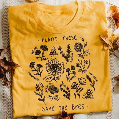 Women Short Sleeve Loose Letter Printed T-shirt - PLANT THIS SAVE THE BEES T-SHIRT