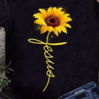 Women Short Sleeve Loose Letter Sunflowers Printed T-shirt