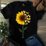 Women Short Sleeve Loose Sunflowers Printed T-shirt