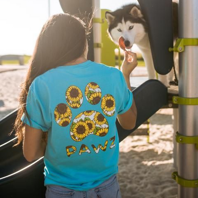 Women Short Sleeve Loose Sunflowers Paws Printed T-shirt