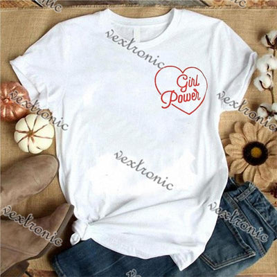 Women Round-neck Short Sleeve Loose Printed T-shirt- Heart Girl Power