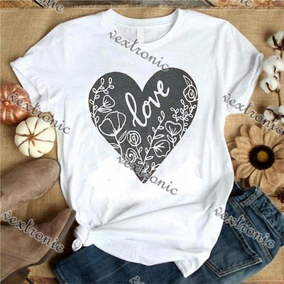 Women Round-neck Short Sleeve Loose Printed T-shirt- Heart Love
