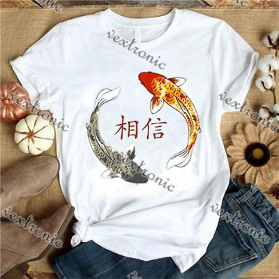 Women Round-neck Short Sleeve Loose Printed T-shirt- Believe