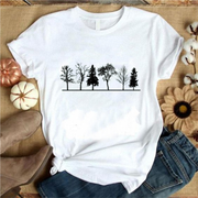 Women Round-neck Short Sleeve Loose Printed T-shirt-TREE