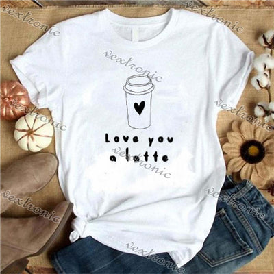 Women Round-neck Short Sleeve Loose Printed T-shirt- LOVE YOU A LATTE