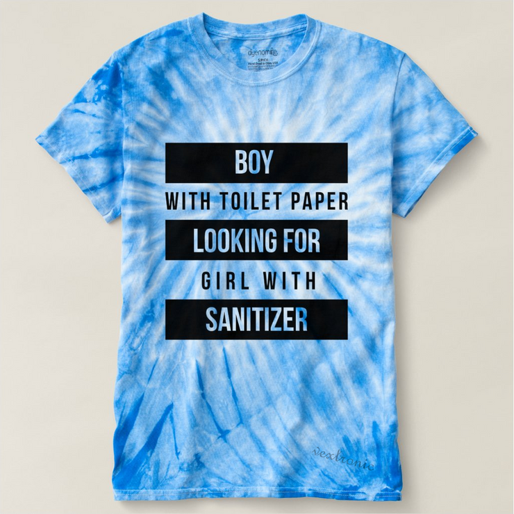 Unisex Cyclone Tie-Dye T-Shirt- Boy with Toilet Paper