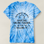 Unisex Cyclone Tie-Dye T-Shirt-I Thought Online Teacher Black