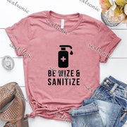 Unisex Short Sleeve Round-neck Loose Printed T-shirt- Be Wize Sanitize Black