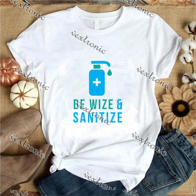 Unisex Short Sleeve Round-neck Loose Printed T-shirt- Be Wize Sanitize