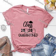 Unisex Short Sleeve Round-neck Loose Printed T-shirt- Class Quarantined 2020 Black
