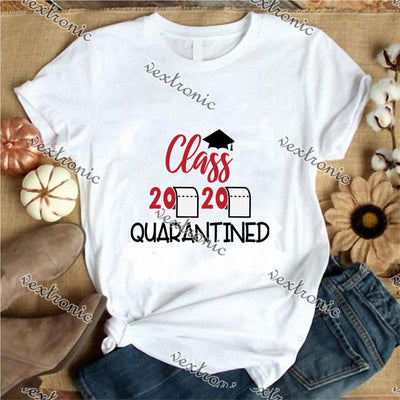 Unisex Short Sleeve Round-neck Loose Printed T-shirt- Class Quarantined 2020