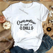 Unisex Short Sleeve Round-neck Loose Printed T-shirt- Quarantine And Chill Black