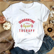 Unisex Short Sleeve Round-neck Loose Printed T-shirt- Quarantine Liquid Therapy