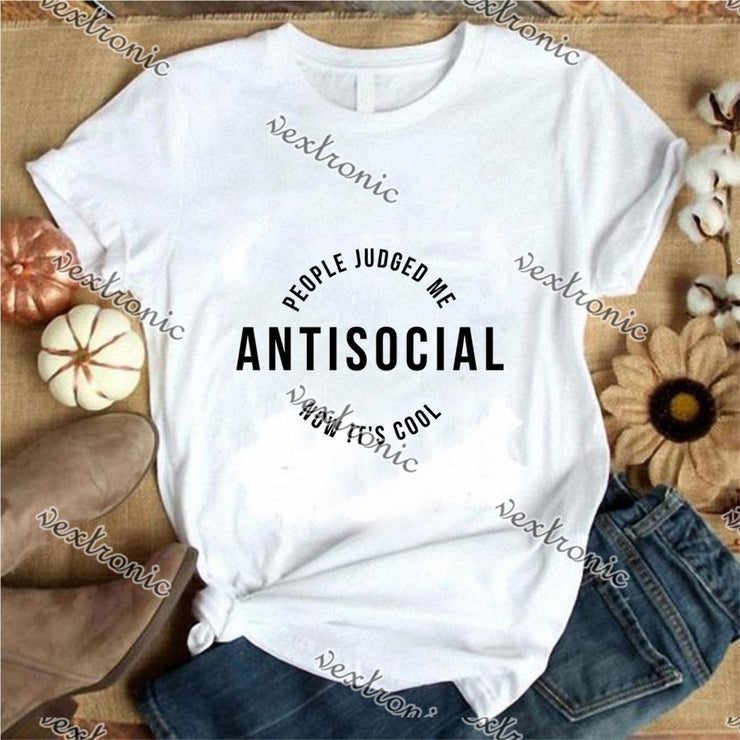 Unisex Short Sleeve Round-neck Loose Printed T-shirt- Antisocial People Jujged Black