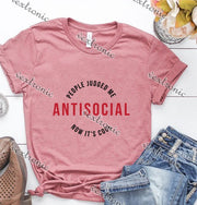 Unisex Short Sleeve Round-neck Loose Printed T-shirt- Antisocial People Jujged