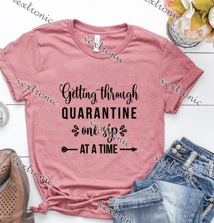 Unisex Short Sleeve Round-neck Loose Printed T-shirt- Gettiing Through Quarantine Black