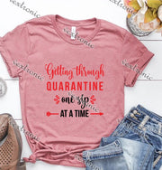 Unisex Short Sleeve Round-neck Loose Printed T-shirt- Gettiing Through Quarantine