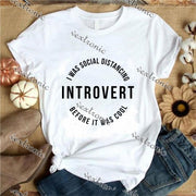 Unisex Short Sleeve Round-neck Loose Printed T-shirt- Introvert Black