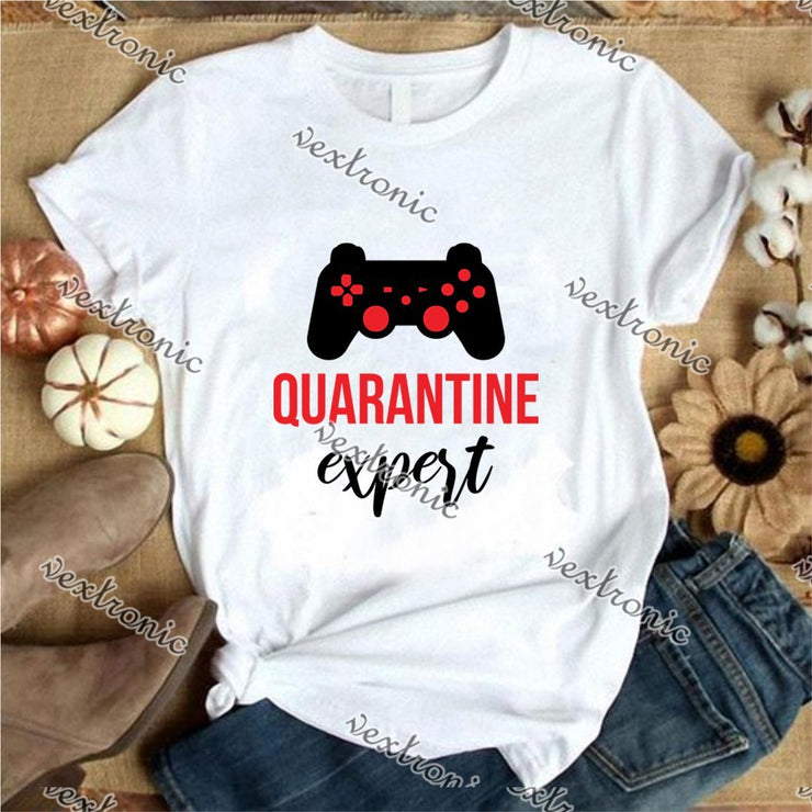 Unisex Short Sleeve Round-neck Loose Printed T-shirt- Quarantine Expert