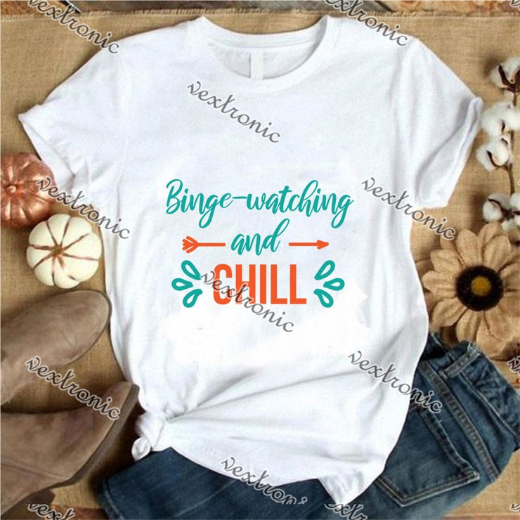 Unisex Short Sleeve Round-neck Loose Printed T-shirt- Binge Watching