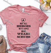 Unisex Short Sleeve Round-neck Loose Printed T-shirt- Not All Heroes Scrubs Black
