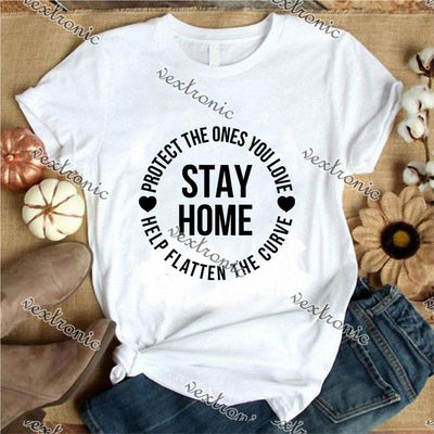 Unisex Short Sleeve Round-neck Loose Printed T-shirt- Stay Home Black