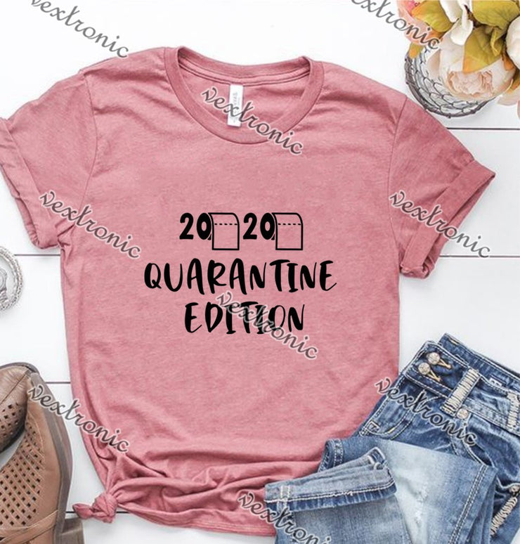 Unisex Short Sleeve Round-neck Loose Printed T-shirt- 2020 Quarantine Edition Black