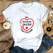 Unisex Short Sleeve Round-neck Loose Printed T-shirt- Frontline Doctor