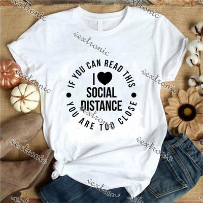 Unisex Short Sleeve Round-neck Loose Printed T-shirt- Love Social Distance Black