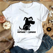 Unisex Short Sleeve Round-neck Loose Printed T-shirt- Tage Savage Black