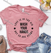 Unisex Short Sleeve Round-neck Loose Printed T-shirt- Is In The Air Wash Your Hands